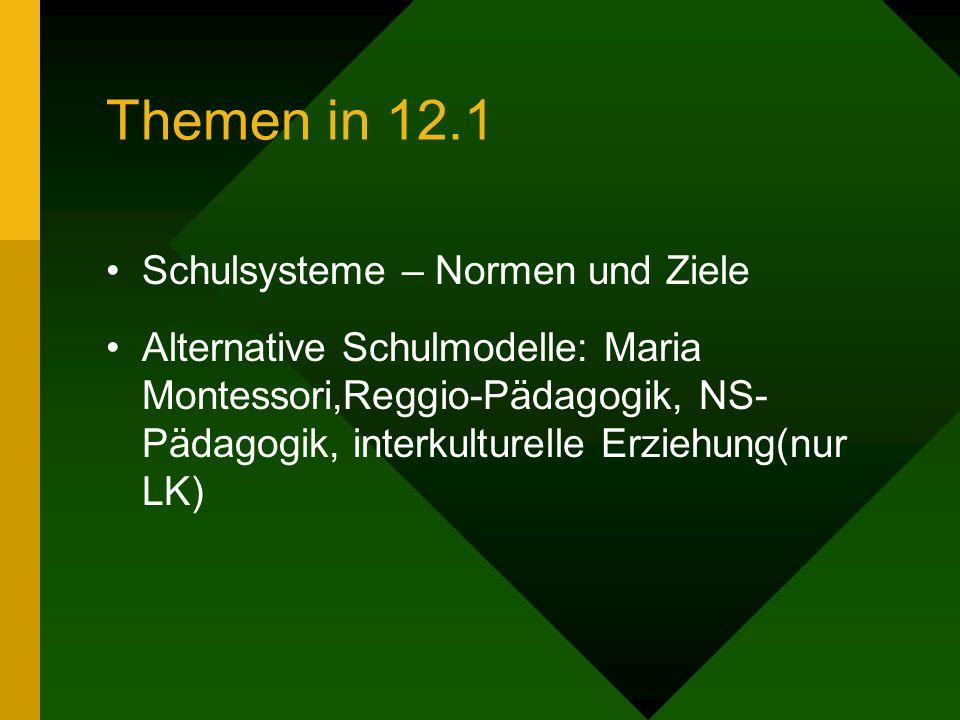 Themen in 12.1 Schulsysteme – Normen und Ziele