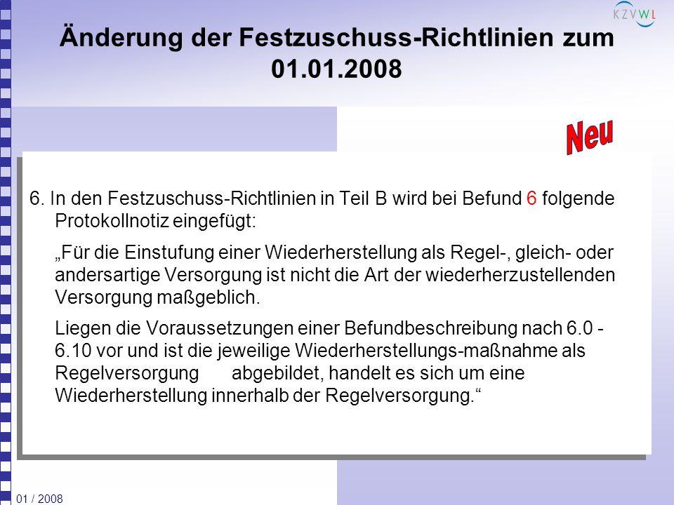 Änderung der Festzuschuss-Richtlinien zum 01.01.2008