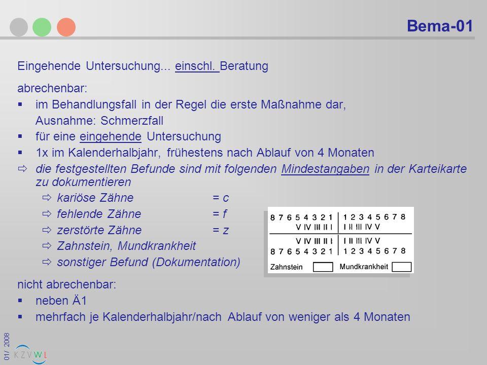 Bema-01 Eingehende Untersuchung... einschl. Beratung abrechenbar: