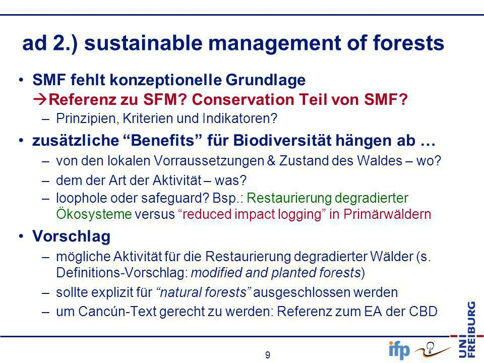 ad 2.) sustainable management of forests