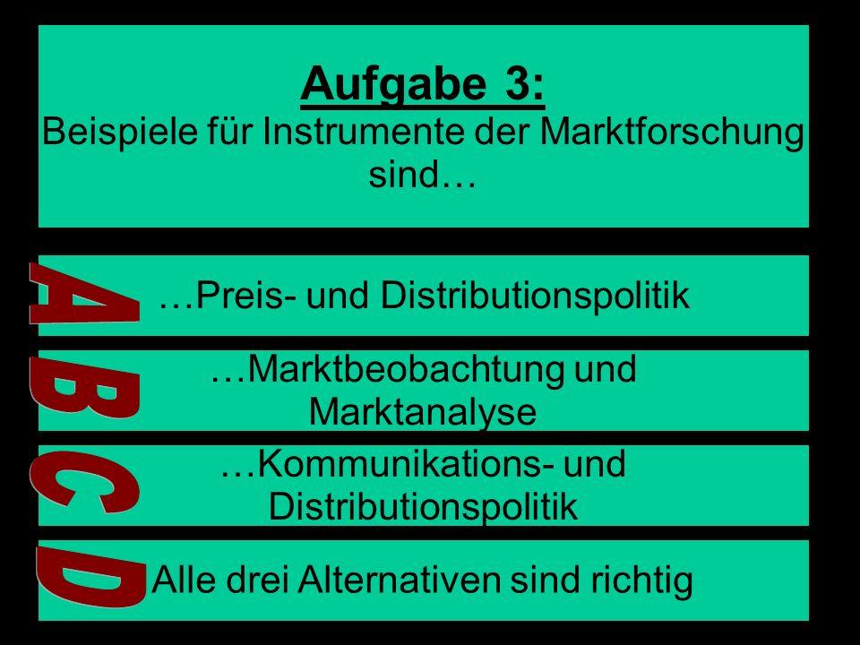 Aufgabe 3: A B C D Beispiele für Instrumente der Marktforschung sind…