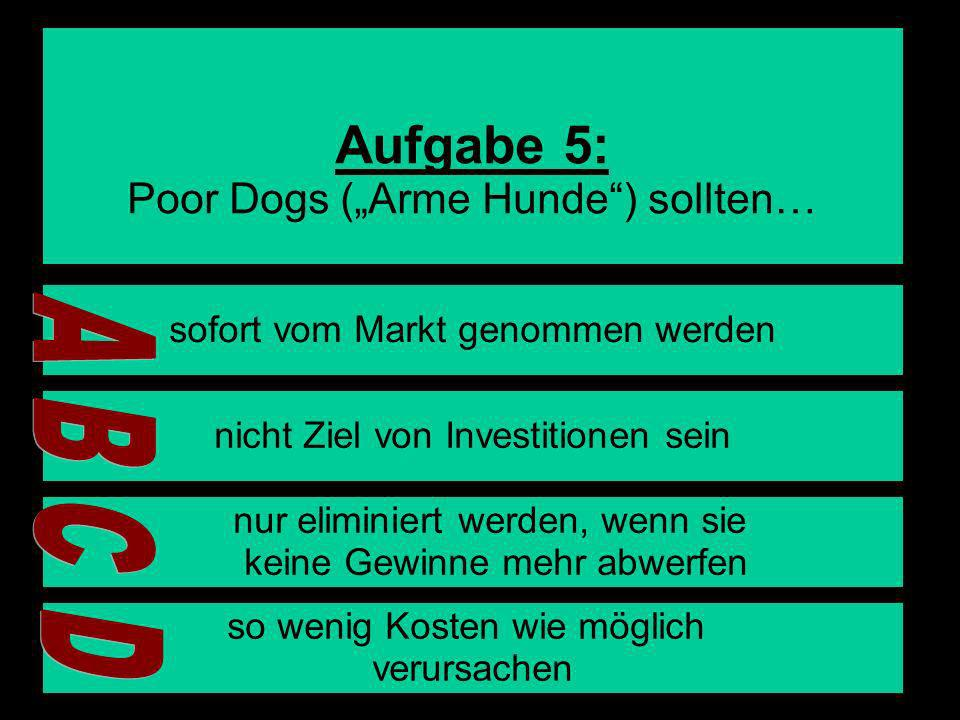 "Aufgabe 5: A B C D Poor Dogs (""Arme Hunde ) sollten…"