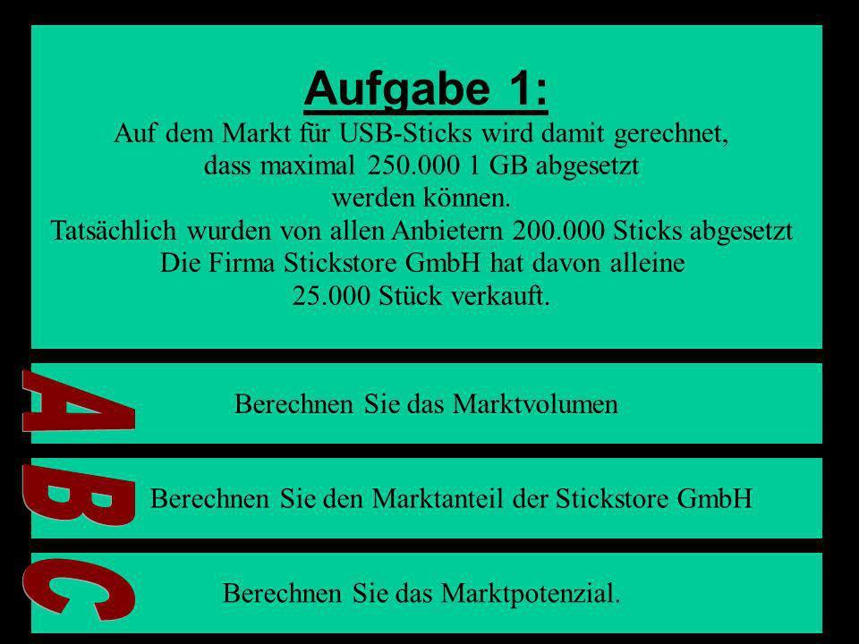 Aufgabe 1: A B C Auf dem Markt für USB-Sticks wird damit gerechnet,