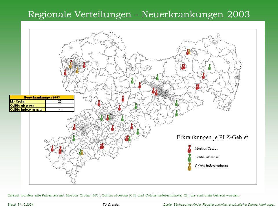 Regionale Verteilungen - Neuerkrankungen 2003