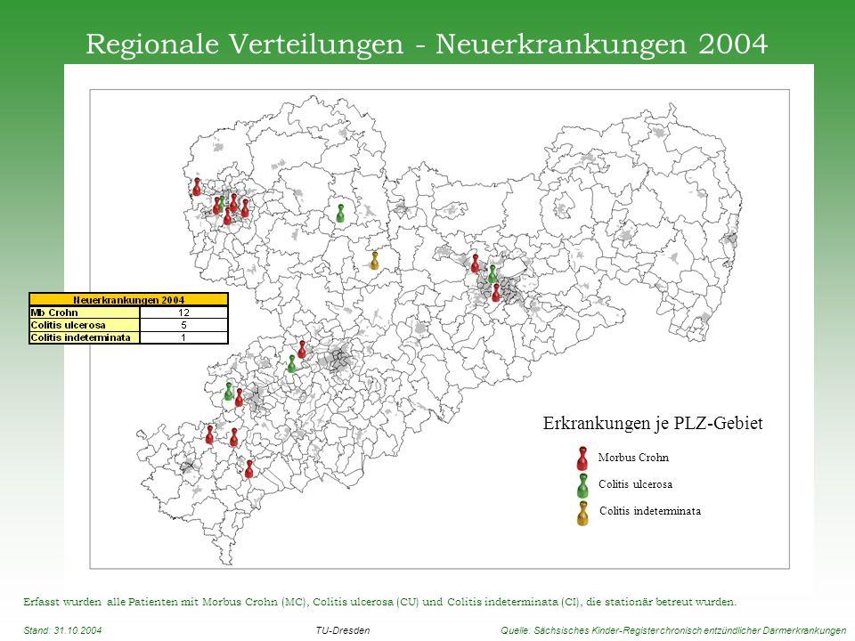 Regionale Verteilungen - Neuerkrankungen 2004