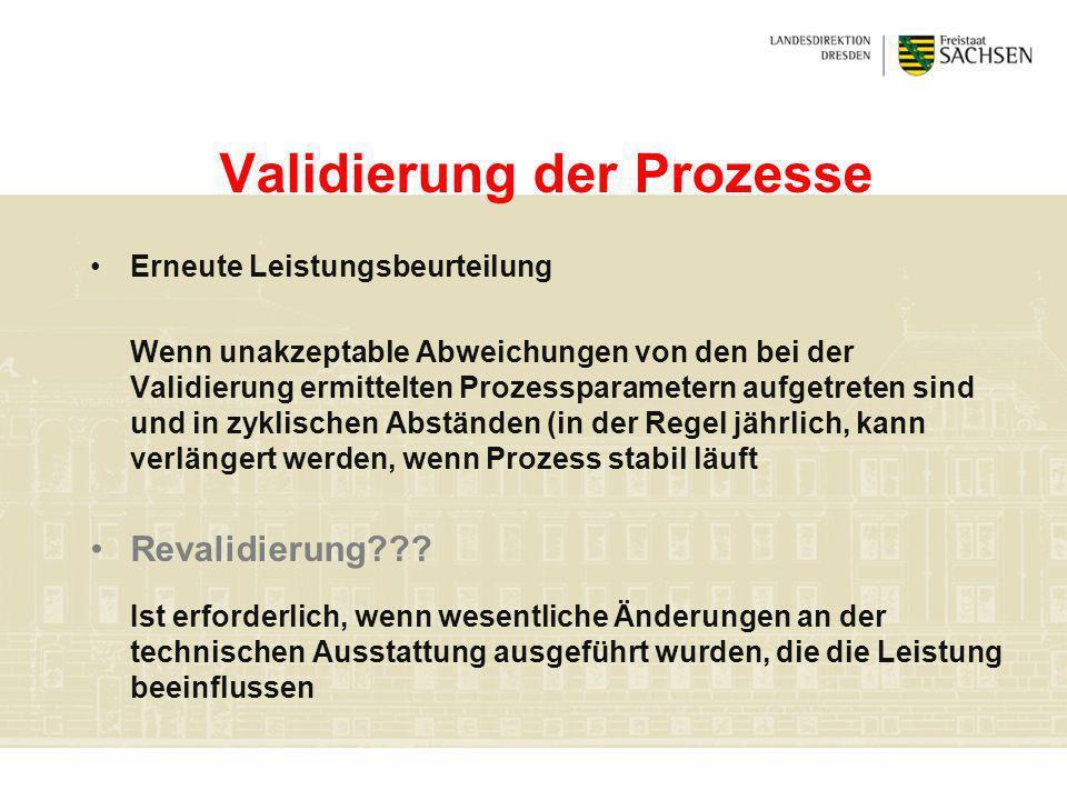 Validierung der Prozesse