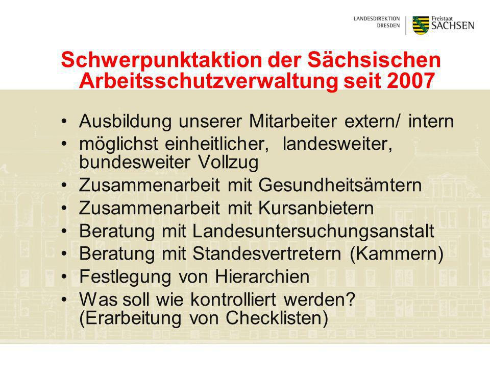 Schwerpunktaktion der Sächsischen Arbeitsschutzverwaltung seit 2007