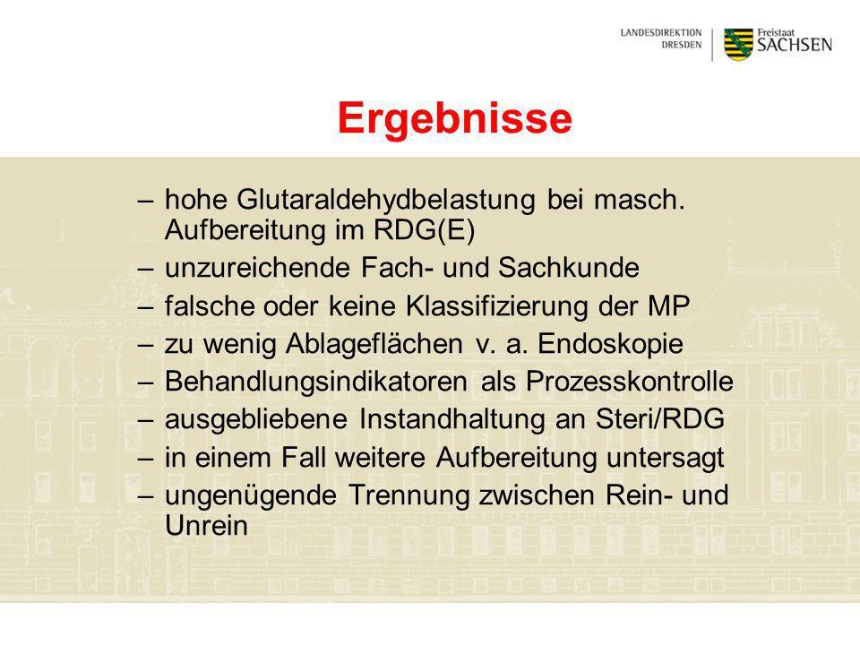 Ergebnissehohe Glutaraldehydbelastung bei masch. Aufbereitung im RDG(E) unzureichende Fach- und Sachkunde.