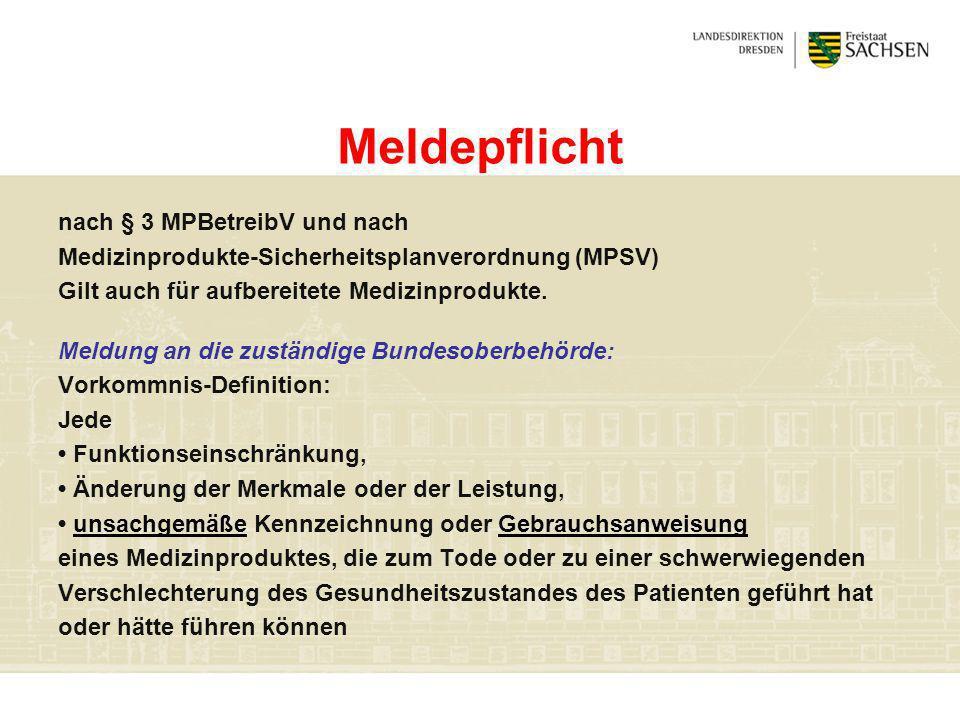Meldepflicht nach § 3 MPBetreibV und nach