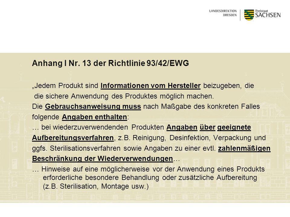 Anhang I Nr. 13 der Richtlinie 93/42/EWG