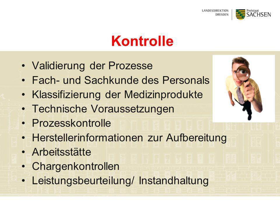 Kontrolle Validierung der Prozesse Fach- und Sachkunde des Personals