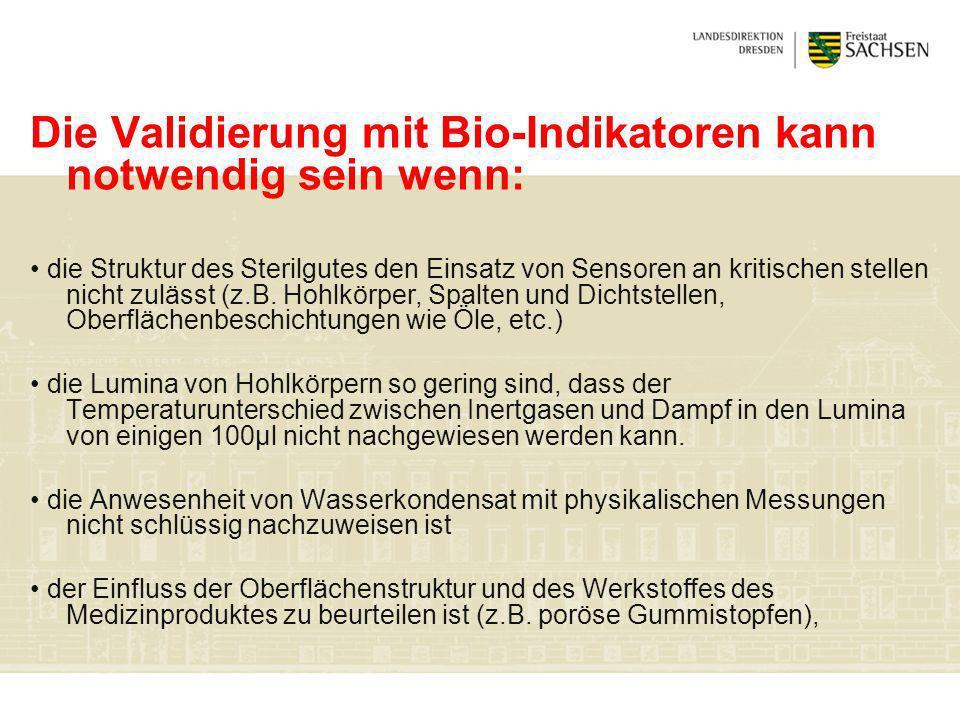 Die Validierung mit Bio-Indikatoren kann notwendig sein wenn: