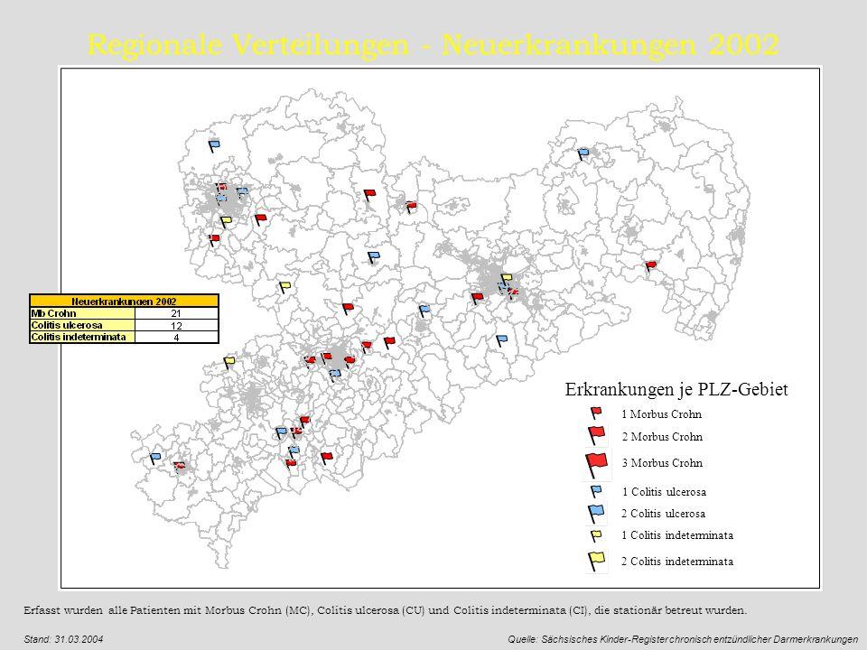 Regionale Verteilungen - Neuerkrankungen 2002