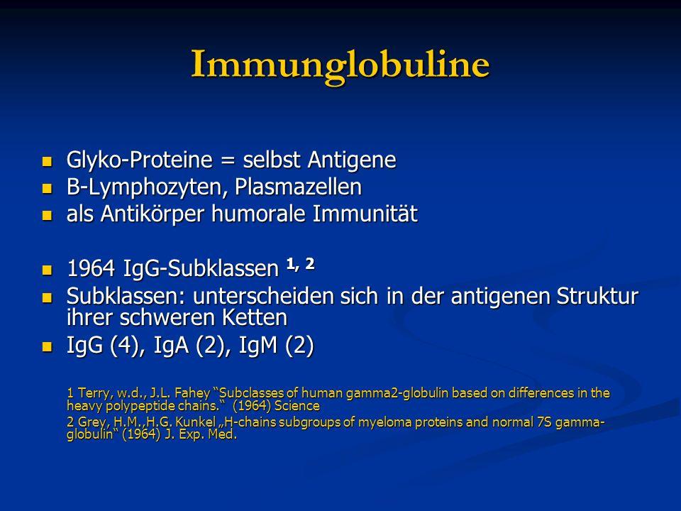 Immunglobuline Glyko-Proteine = selbst Antigene