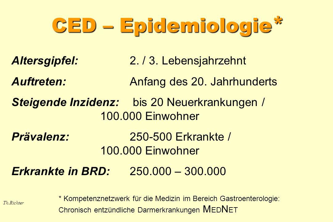 CED – Epidemiologie* Altersgipfel: 2. / 3. Lebensjahrzehnt