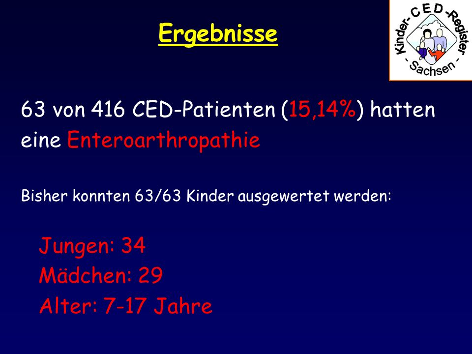 Ergebnisse 63 von 416 CED-Patienten (15,14%) hatten