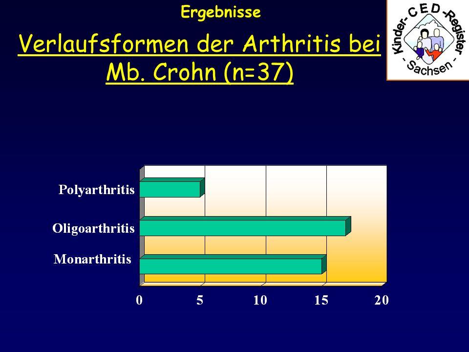 Verlaufsformen der Arthritis bei Mb. Crohn (n=37)