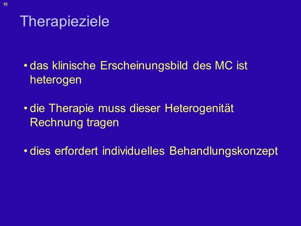 Therapieziele das klinische Erscheinungsbild des MC ist heterogen