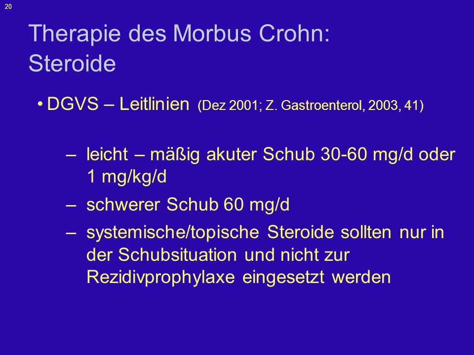 Therapie des Morbus Crohn: Steroide