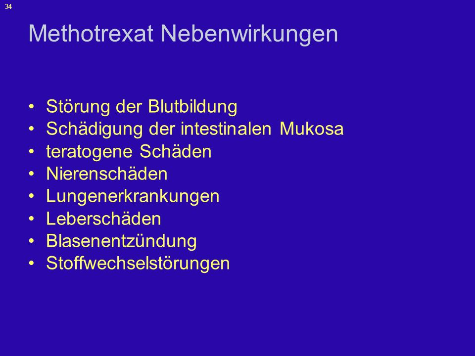 Methotrexat Nebenwirkungen