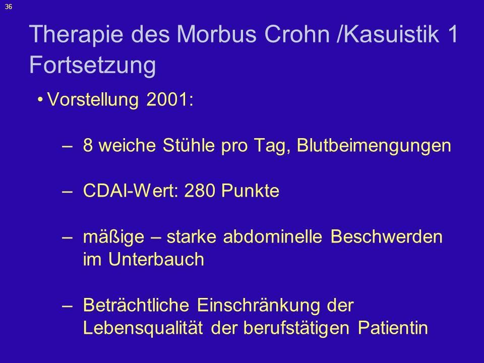 Therapie des Morbus Crohn /Kasuistik 1 Fortsetzung