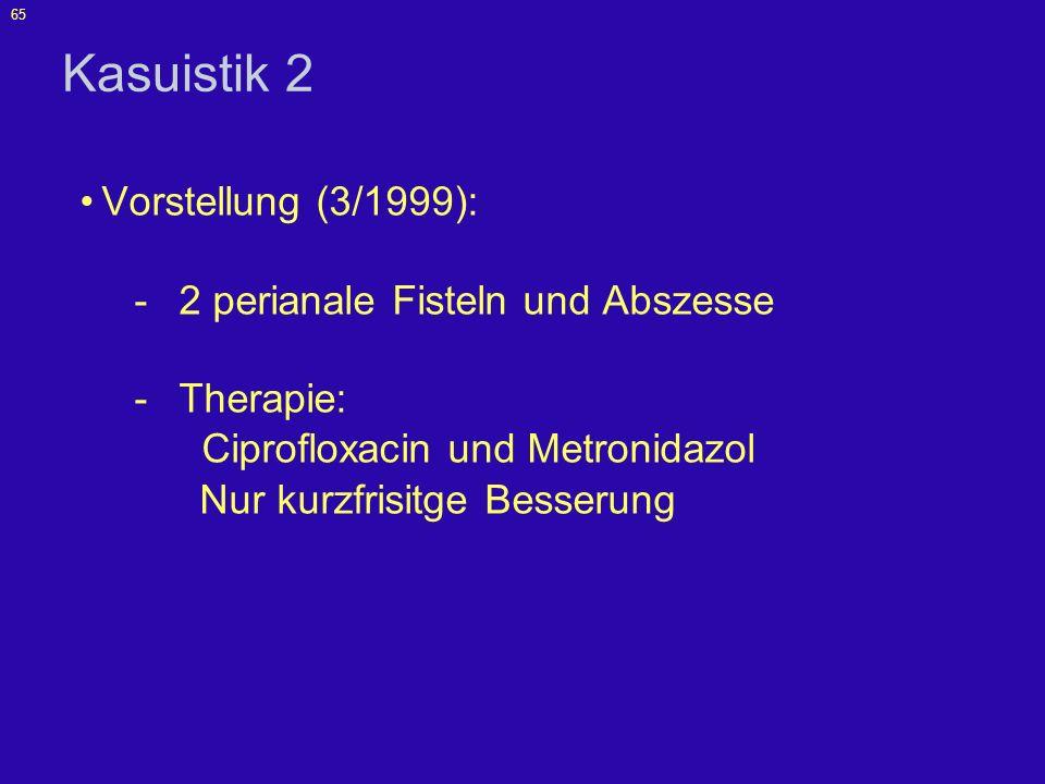 Kasuistik 2 Vorstellung (3/1999): 2 perianale Fisteln und Abszesse