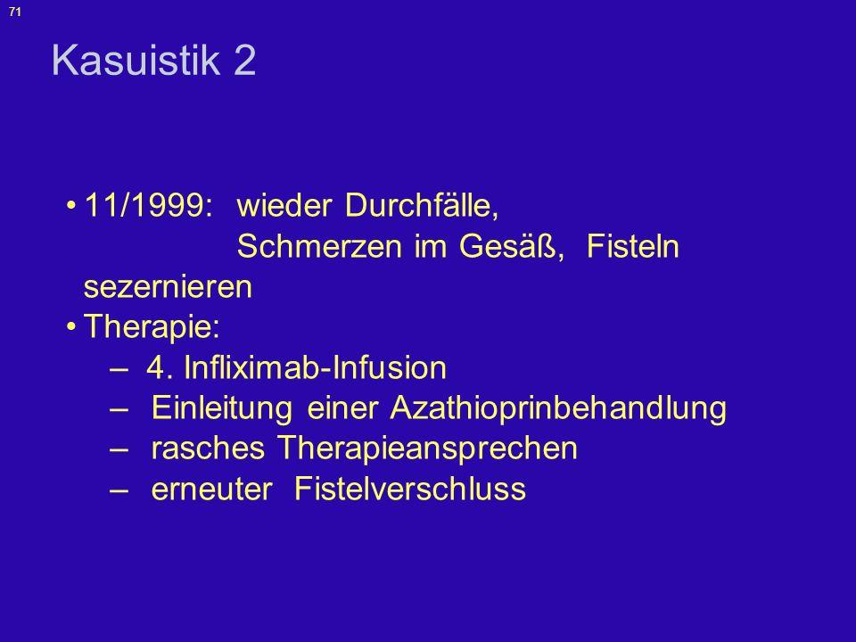 Kasuistik 2 11/1999: wieder Durchfälle, Schmerzen im Gesäß, Fisteln sezernieren.
