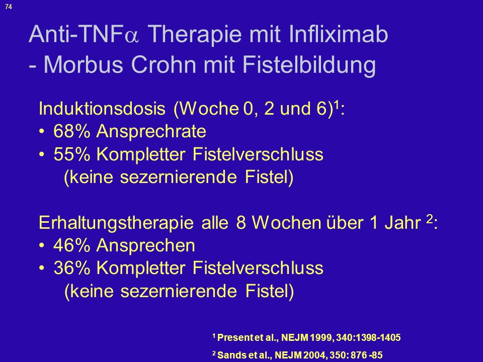 Anti-TNF Therapie mit Infliximab - Morbus Crohn mit Fistelbildung