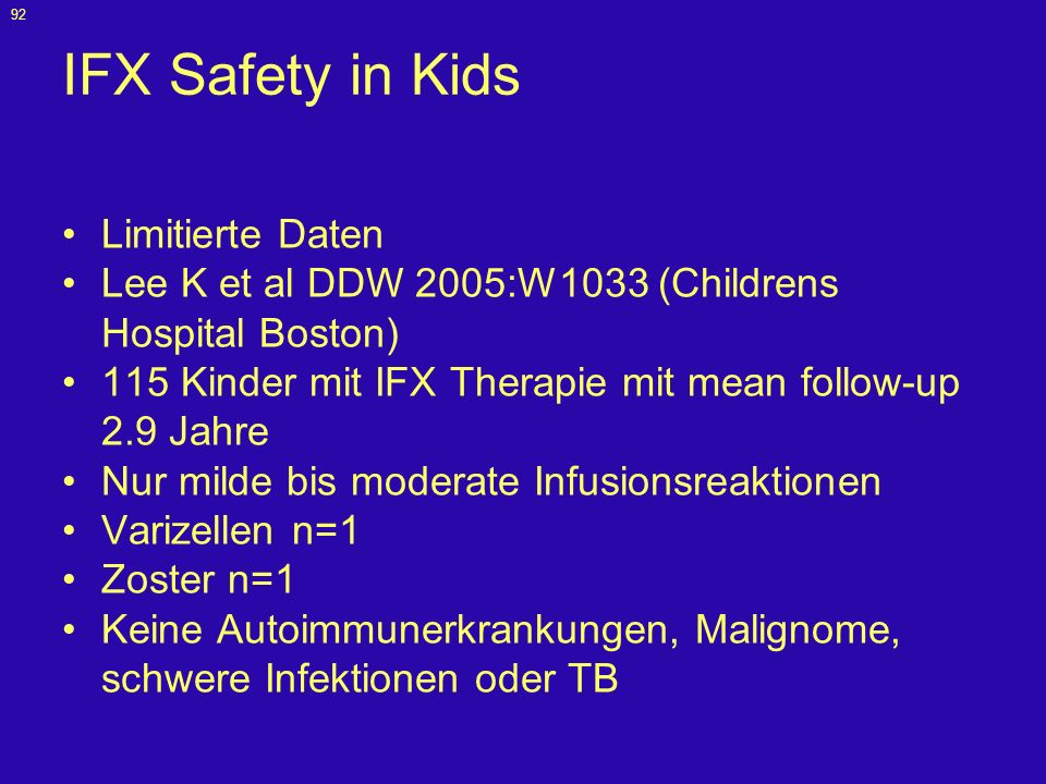 IFX Safety in Kids Limitierte Daten