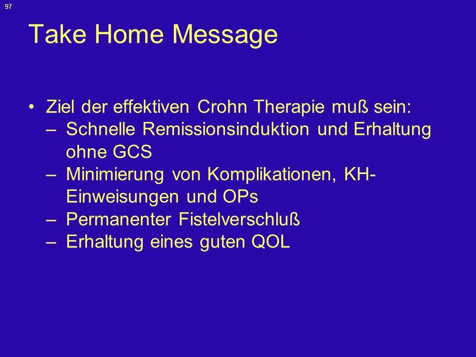Take Home Message Ziel der effektiven Crohn Therapie muß sein: