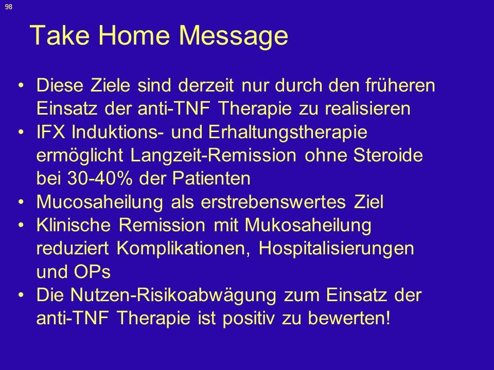 Take Home Message Diese Ziele sind derzeit nur durch den früheren Einsatz der anti-TNF Therapie zu realisieren.