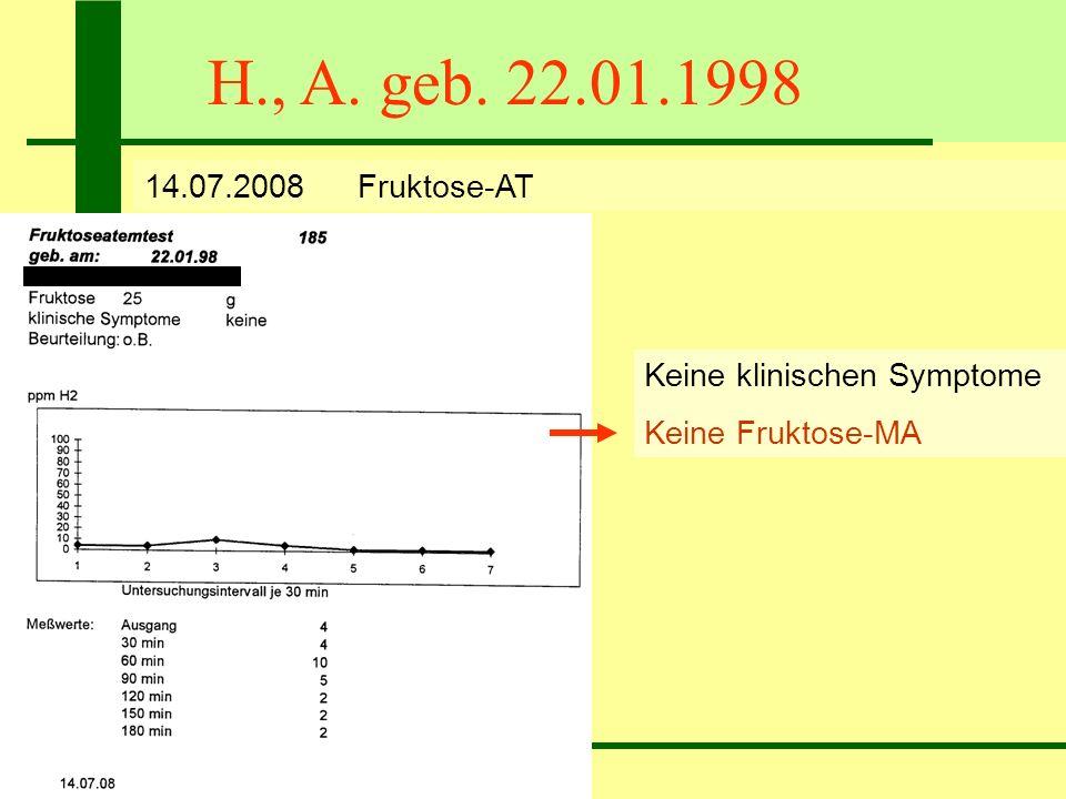 H., A. geb. 22.01.1998 14.07.2008 Fruktose-AT Keine klinischen Symptome Keine Fruktose-MA
