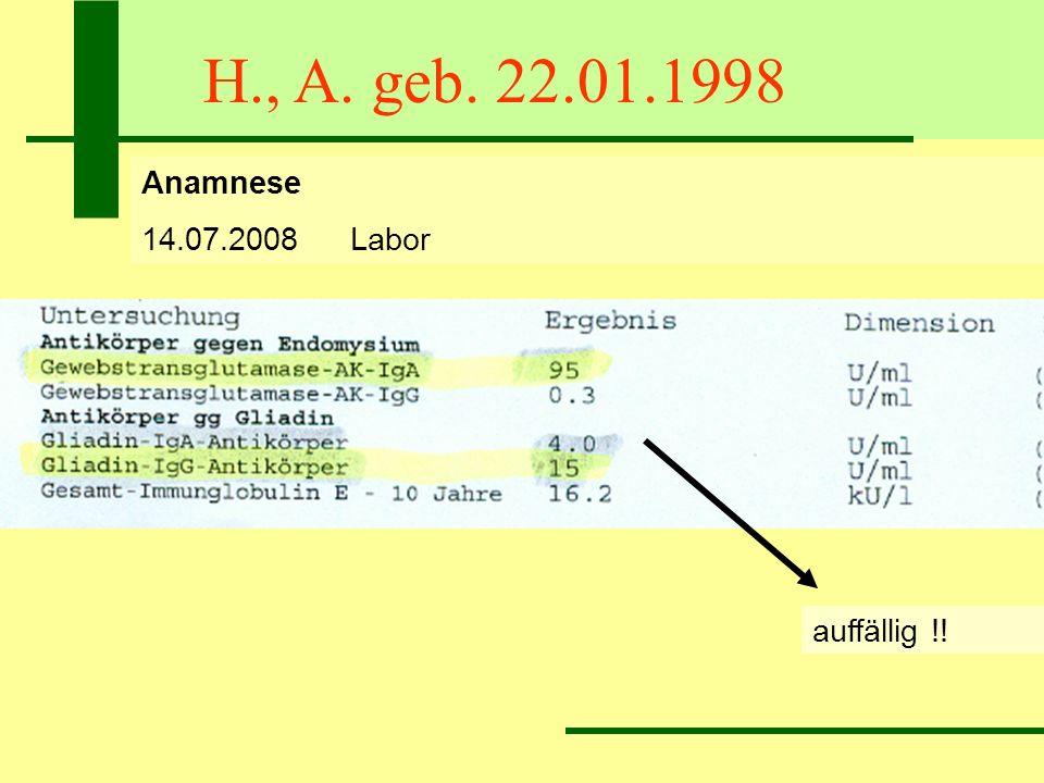 H., A. geb. 22.01.1998 Anamnese 14.07.2008 Labor auffällig !!