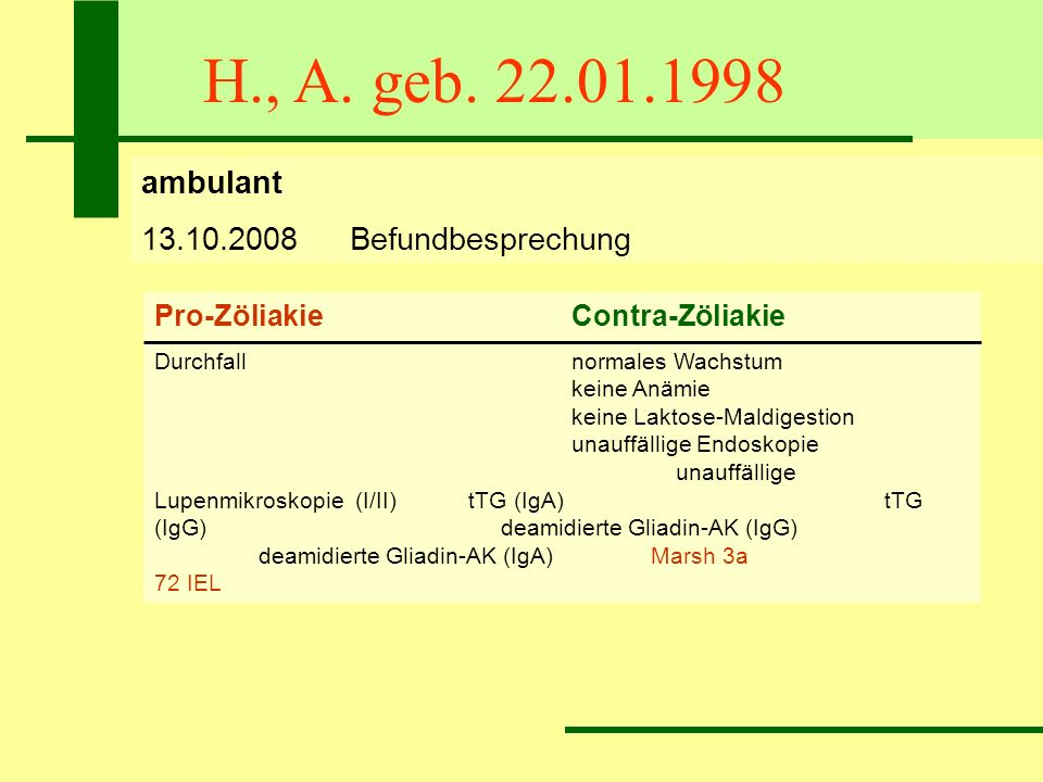 H., A. geb. 22.01.1998 ambulant 13.10.2008 Befundbesprechung