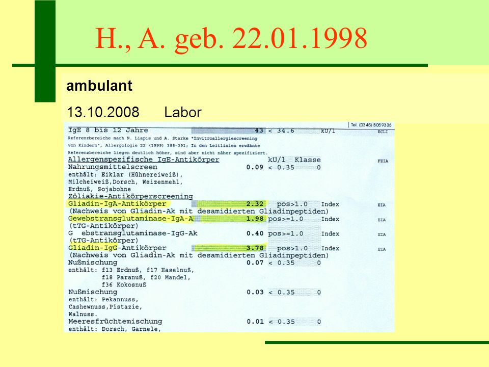 H., A. geb. 22.01.1998 ambulant 13.10.2008 Labor