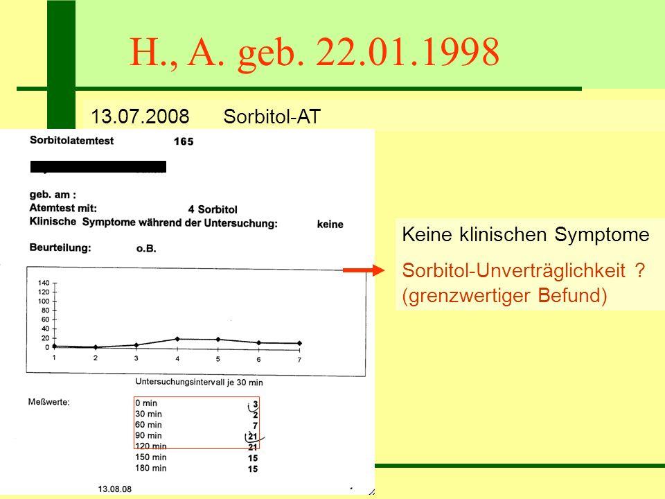 H., A. geb. 22.01.1998 13.07.2008 Sorbitol-AT. Keine klinischen Symptome.