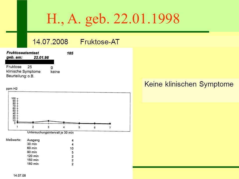 H., A. geb. 22.01.1998 14.07.2008 Fruktose-AT Keine klinischen Symptome Keine Lactose-Maldigestion