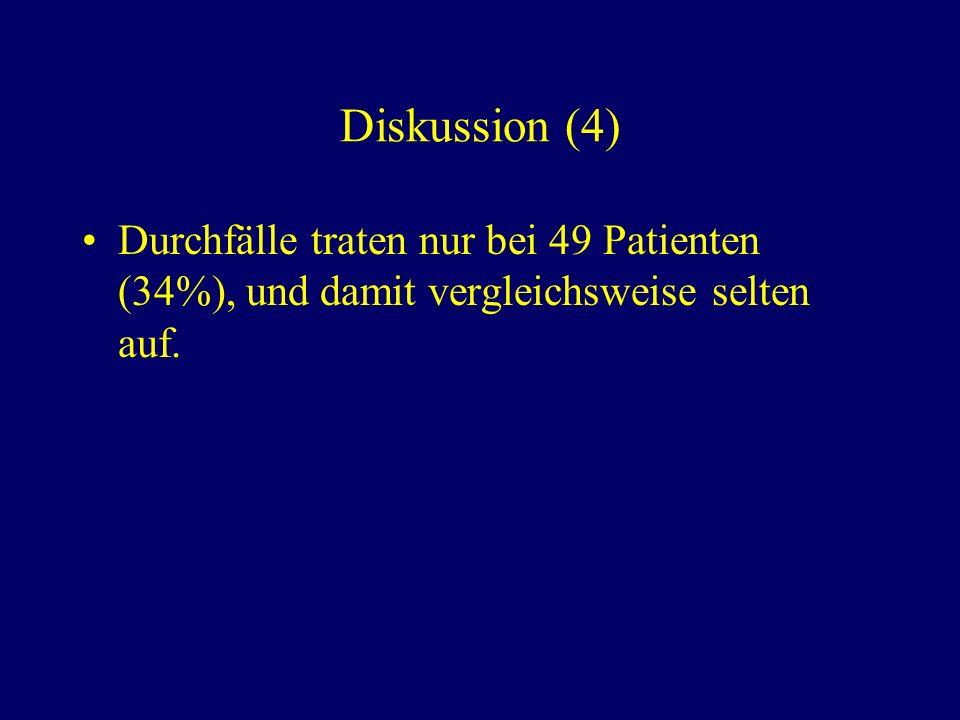 Diskussion (4) Durchfälle traten nur bei 49 Patienten (34%), und damit vergleichsweise selten auf.