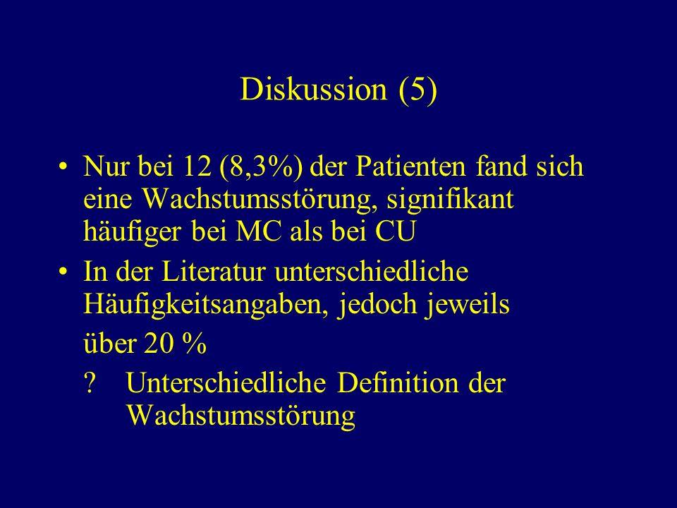 Diskussion (5) Nur bei 12 (8,3%) der Patienten fand sich eine Wachstumsstörung, signifikant häufiger bei MC als bei CU.