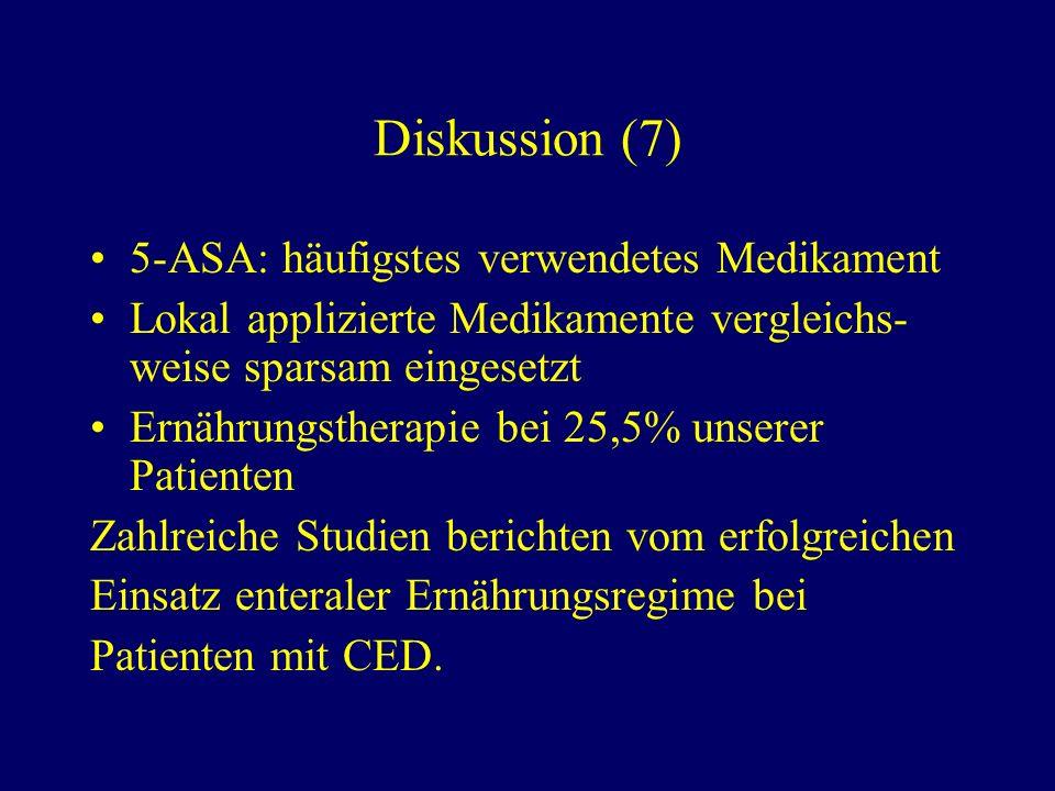 Diskussion (7) 5-ASA: häufigstes verwendetes Medikament