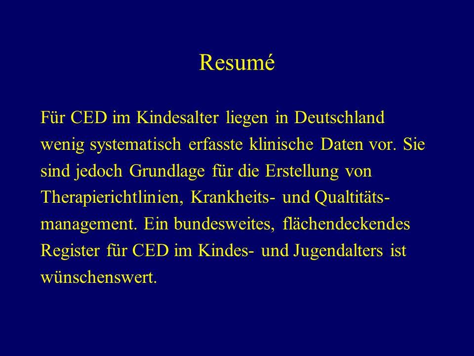 Resumé Für CED im Kindesalter liegen in Deutschland
