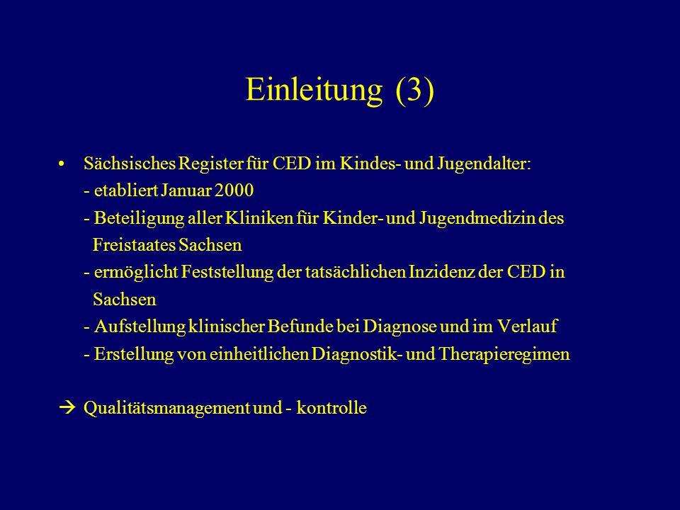 Einleitung (3) Sächsisches Register für CED im Kindes- und Jugendalter: - etabliert Januar 2000.