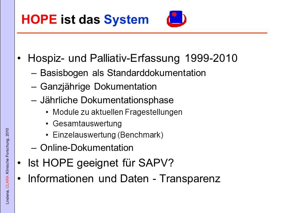 HOPE ist das System Hospiz- und Palliativ-Erfassung 1999-2010