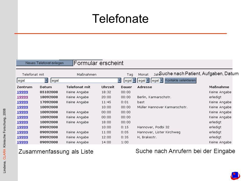 Telefonate Formular erscheint Zusammenfassung als Liste