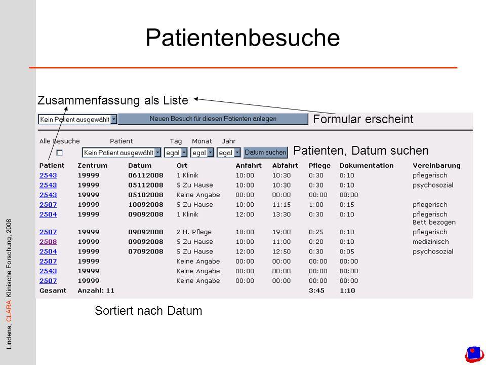 Patientenbesuche Zusammenfassung als Liste Formular erscheint