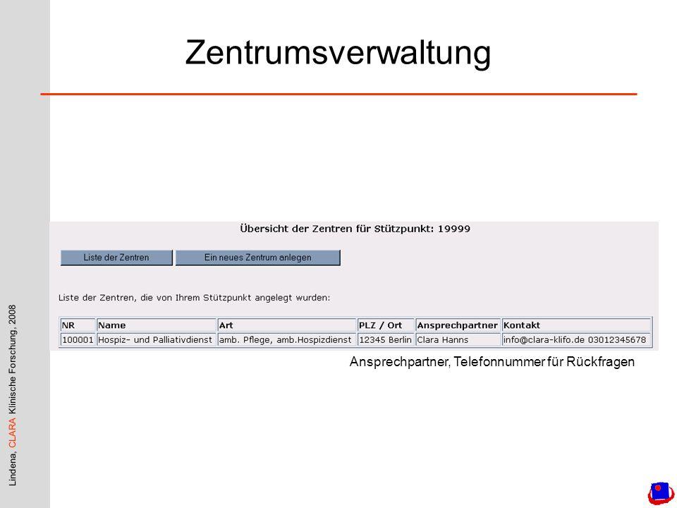 Zentrumsverwaltung Ansprechpartner, Telefonnummer für Rückfragen