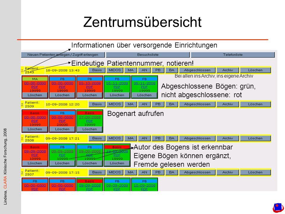 Zentrumsübersicht Informationen über versorgende Einrichtungen