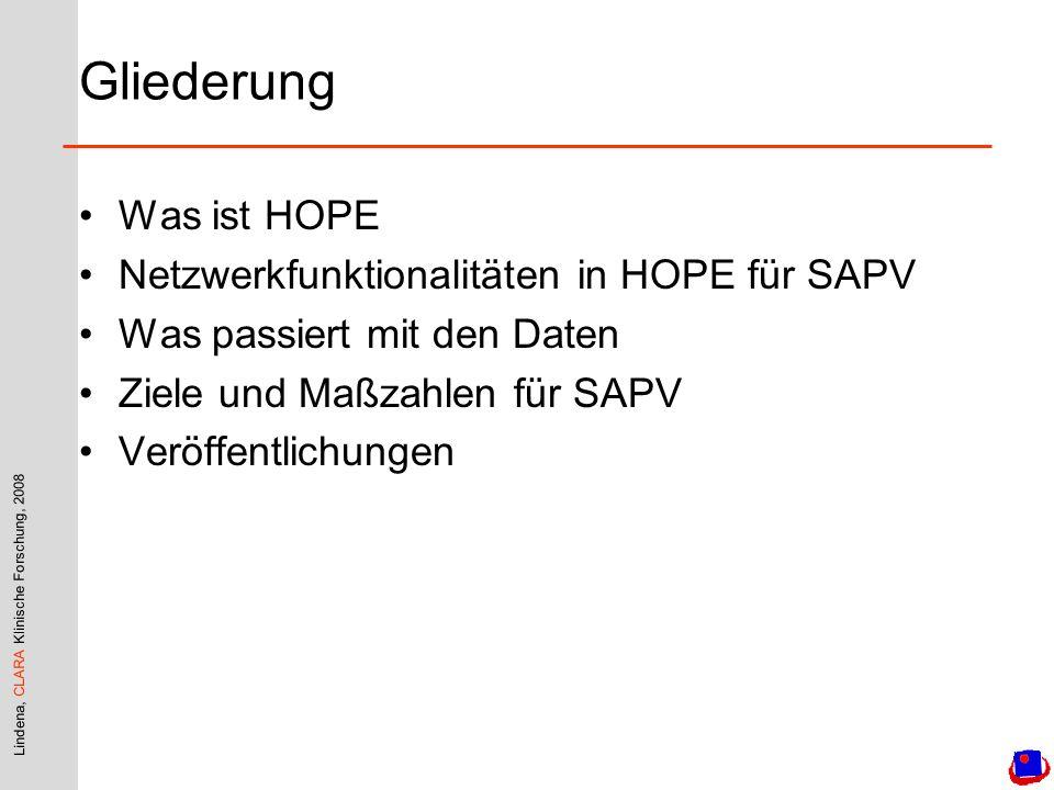 Gliederung Was ist HOPE Netzwerkfunktionalitäten in HOPE für SAPV