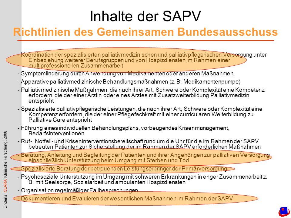 Inhalte der SAPV Richtlinien des Gemeinsamen Bundesausschuss