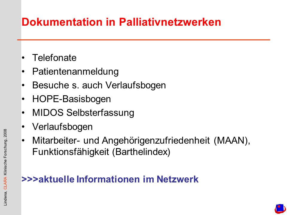 Dokumentation in Palliativnetzwerken